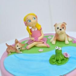 Kislányos kiskutyás torta
