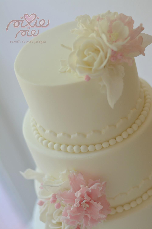 virágos esküvői torta Rózsaszín virágos esküvői torta   PixiePie torta virágos esküvői torta